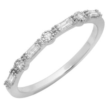 Trang sức Dazzling Rock Dazzlingrock Collection 0.15 Carat (ctw) 10K Round & Baguette Kim cương Nữ Anniversary Wedding Band
