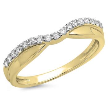 Trang sức Dazzling Rock 0.25 Carat (ctw) 14K Kim cương trắng Wedding Stackable Contour Guard Band 1/4 CT