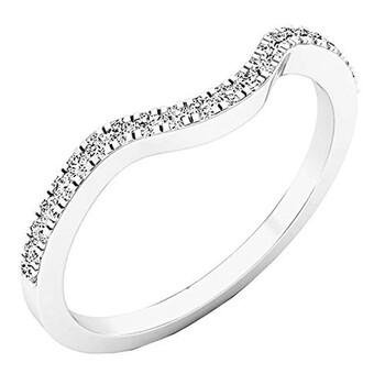 Trang sức Dazzling Rock Dazzlingrock Collection 0.15 Carat (ctw) 14K Round Kim cương trắng Anniversary Nhẫn Wedding Guard Band