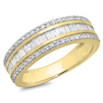 Trang sức Dazzling Rock Dazzlingrock Collection 0.95 Carat (ctw) 10K Round & Baguette Kim cương Anniversary Wedding Band Nhẫn 1 CT