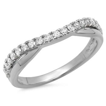 Trang sức Dazzling Rock 0.30 Carat (ctw) 18K Round Kim cương Nữ Wedding Guard Contour Band 1/3 CT