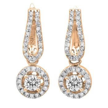 Trang sức Dazzling Rock Dazzlingrock Collection 0.60 Carat (ctw) 14K Round Kim cương trắng Nữ Halo Style Dangling Drop Bông tai (khuyên tai