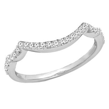 Trang sức Dazzling Rock Dazzlingrock Collection 0.20 Carat (ctw) 14K Kim cương trắng Nữ Wedding Contour Guard Nhẫn 1/5 CT
