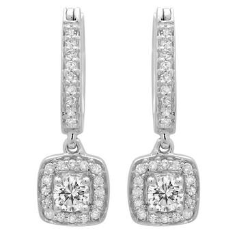 Trang sức Dazzling Rock Dazzlingrock Collection 0.50 Carat (ctw) 14K Round Kim cương trắng Nữ Halo Style Dangling Bông tai (khuyên tai