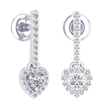 Trang sức Dazzling Rock Dazzlingrock Collection 0.50 Carat (ctw) 14K Round Kim cương trắng Nữ Heart Dangling Drop Bông tai (khuyên tai