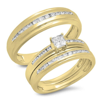 Trang sức Dazzling Rock Dazzlingrock Collection 0.85 Carat (Ctw) 10K Princess & Round Kim cương trắng Nam & Nữ Nhẫn Trio Bridal Set