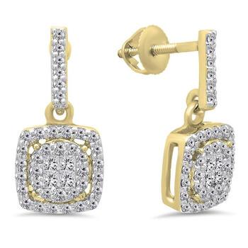 Trang sức Dazzling Rock Dazzlingrock Collection 0.60 Carat (ctw) 10K Princess & Round Kim cương trắng Nữ Cluster Style Drop Bông tai (khuyên tai