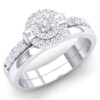 Trang sức Dazzling Rock Dazzlingrock Collection 0.45 Carat (ctw) 10K Kim cương trắng Nữ Bridal Halo Nhẫn đính hôn Set 1/2 CT