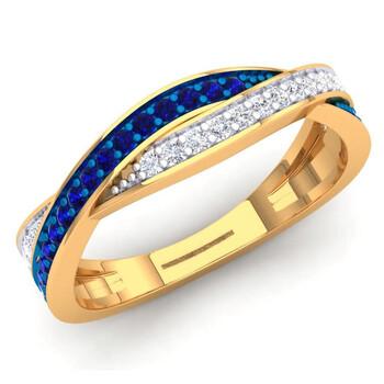 Trang sức Dazzling Rock Dazzlingrock Collection 14K Blue Sapphire & Kim cương trắng Nữ Anniversary Wedding Swirl Stackable Band