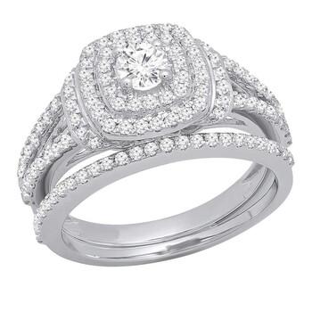 Trang sức Dazzling Rock Dazzlingrock Collection 1.00 Carat (Ctw) 14K Round Kim cương Nữ Bridal Halo Nhẫn đính hôn Set 1 CT