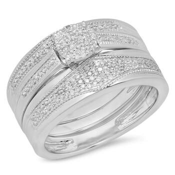 Trang sức Dazzling Rock Dazzlingrock Collection 0.35 Carat (Ctw) 10K Kim cương trắng Nam & Nữ Millgrain Nhẫn đính hôn Trio Bridal Set