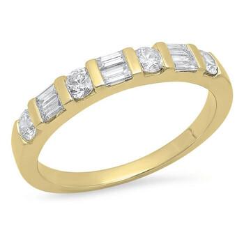 Trang sức Dazzling Rock Dazzlingrock Collection 0.47 Carat (Ctw) 14K Round & Baguette Cut Kim cương trắng Wedding Band Nhẫn 1/4 CT