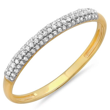 Trang sức Dazzling Rock Dazzlingrock Collection 0.16 Carat (ctw) 10K Round Kim cương trắng Nữ Bridal Anniversary Wedding Band