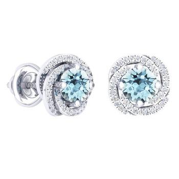 trang sức Dazzling Rock Dazzlingrock Collection 14K 6 MM Each Round Aquamarine & Kim cương trắng Nữ Halo Style Stud Bông tai (khuyên tai, hoa tai), Vàng trắng chính hãng sale giá rẻ tại Hà nội TPHCM
