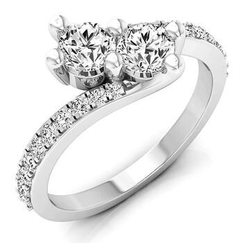 Trang sức Dazzling Rock Dazzlingrock Collection 1.00 Carat (ctw) 14K Round Kim cương Nữ Two Stone Bridal Nhẫn đính hôn 1 CT