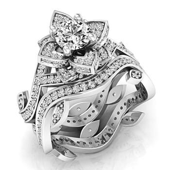 Trang sức Dazzling Rock Dazzlingrock Collection 2.25 Carat (ctw) 14K Round White Cubic Zirconia Bridal Nhẫn đính hôn Set