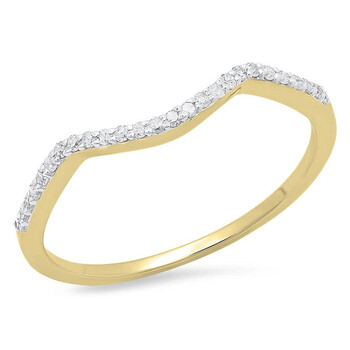 Trang sức Dazzling Rock Dazzlingrock Collection 0.12 Carat (ctw) 10K Round Kim cương Wedding Stackable Band Contour Guard Nhẫn