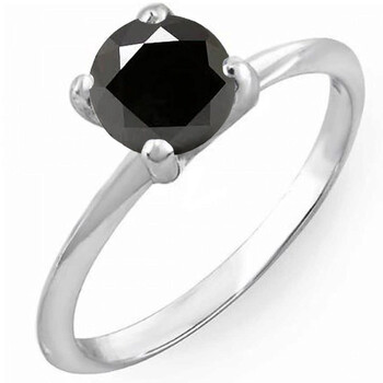Trang sức Dazzling Rock Dazzlingrock Collection 2.00 Carat (ctw) Bạc 925 Kim cương đen Bridal Engagement Solitaire Nhẫn 2 CT