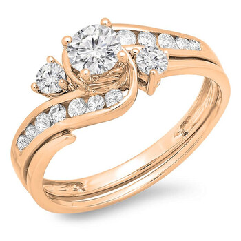 Trang sức Dazzling Rock Dazzlingrock Collection 0.85 Carat (ctw) 10K Round Kim cương Nữ Twisted Bridal Nhẫn đính hôn Set