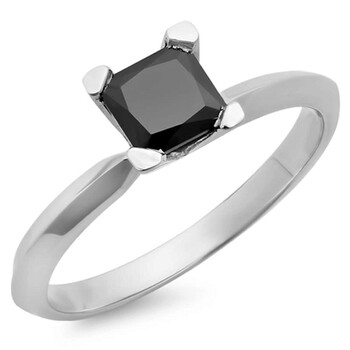 Trang sức Dazzling Rock Dazzlingrock Collection 2.00 Carat (ctw) 14K Kim cương đen Solitaire Bridal Nhẫn đính hôn 2 CT