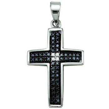 Trang sức Dazzling Rock Dazzlingrock Collection 0.17 Carat (ctw) Round Cut Đen & Trắng Kim cương Nữ Cross Charm Pendant