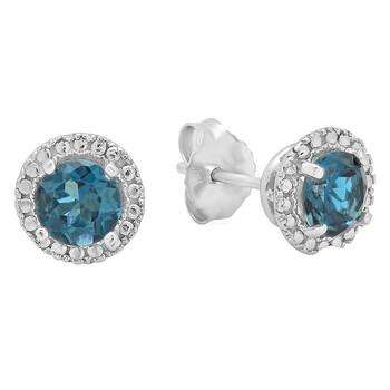 trang sức Dazzling Rock Dazzlingrock Collection 14K 4.5 MM Each Round London Blue Topaz Nữ Halo Style Stud Bông tai (khuyên tai, hoa tai), Vàng trắng chính hãng sale giá rẻ tại Hà nội TPHCM