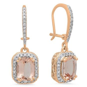 Trang sức Dazzling Rock Dazzlingrock Collection 10K Cushion Morganite & Round Kim cương trắng Nữ Halo Style Dangling Drop Bông tai (khuyên tai, hoa tai), Vàng hồng chính hãng sale giảm giá sỉ rẻ nhất ở Hà nội TPHCM