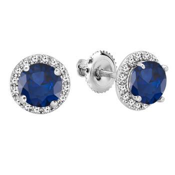 Trang sức Dazzling Rock Dazzlingrock Collection 14K Round Blue Sapphire & Kim cương trắng Nữ Halo Stud Bông tai (khuyên tai, hoa tai), Vàng trắng chính hãng sale giảm giá sỉ rẻ nhất ở Hà nội TPHCM