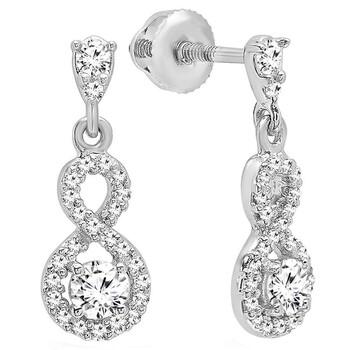 Trang sức Dazzling Rock Dazzlingrock Collection 0.40 Carat (ctw) 10K Round Kim cương trắng Nữ Infinity Swirl Dangling Drop Bông tai (khuyên tai, hoa tai), Vàng trắng chính hãng sale giảm giá sỉ rẻ nhất ở Hà nội TPHCM