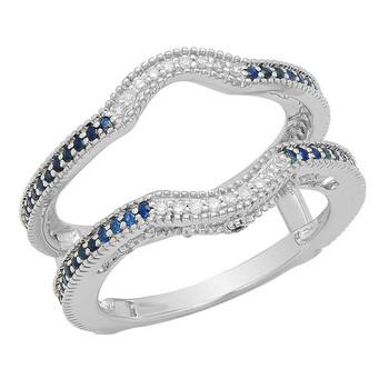 Trang sức Dazzling Rock Dazzlingrock Collection 14K Blue Sapphire & Kim cương trắng Anniversary Wedding Guard Nhẫn 1/2 CT