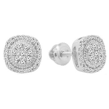 Trang sức Dazzling Rock Dazzlingrock Collection 0.30 Carat (ctw) 10K Round Kim cương trắng Nữ Cluster Stud Bông tai (khuyên tai