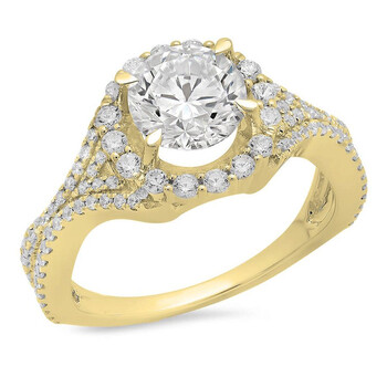 Trang sức Dazzling Rock Dazzlingrock Collection 3.65 Carat (ctw) 14K Round White Cubic Zirconia Bridal Halo Nhẫn đính hôn