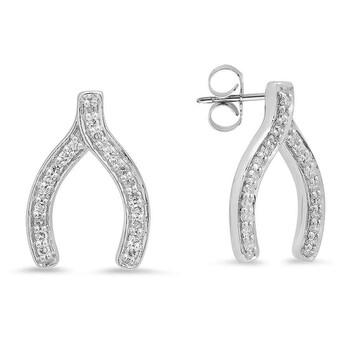 Trang sức Dazzling Rock Dazzlingrock Collection 0.20 Carat (ctw) 14K Round Kim cương trắng Nữ Thời trang Wishbone Stud Earring 1/5 CT