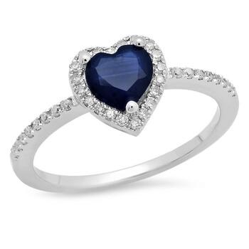 Trang sức Dazzling Rock Dazzlingrock Collection 10K Heart Cut Blue Sapphire & Round Kim cương trắng Heart Nhẫn đính hôn