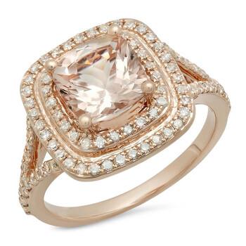 Trang sức Dazzling Rock Dazzlingrock Collection 14K 7.5 MM Cushion Morganite & Round Kim cương trắng Bridal Nhẫn đính hôn