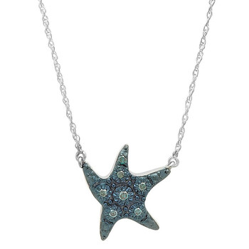 Trang sức Dazzling Rock Dazzlingrock Collection 0.10 Carat (ctw) Blue mạ Round Kim cương Starfish Pendant (Silver Chain Included)