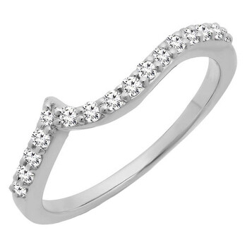 Trang sức Dazzling Rock Dazzlingrock Collection 0.23 Carat (ctw) 18K Round Kim cương Nữ Stackable Wedding Band Guard Nhẫn 1/4 CT