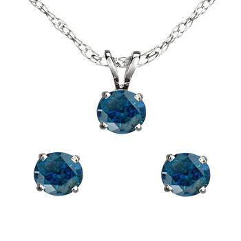 Trang sức Dazzling Rock Dazzlingrock Collection 0.50 Carat (ctw) 14K Round Kim cương xanh Nữ Stud Earring & Pendant Set 1/2 CT