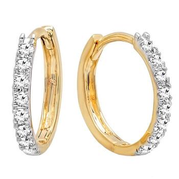 Trang sức Dazzling Rock 0.20 Carat (cttw) 14K Round Kim cương trắng Nữ Huggies Hoop Bông tai (khuyên tai