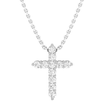 Trang sức Dazzling Rock Dazzlingrock Collection 0.45 Carat (Ctw) 14K Round Kim cương Nữ Cross Pendant 1/2 CT (Silver Chain Included)