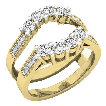 Trang sức Dazzling Rock Dazzlingrock Collection 0.85 Carat (Ctw) 14K Round Kim cương trắng Nữ Wedding 5 Stone Double Nhẫn