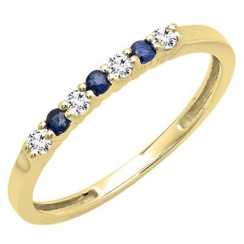 Trang sức Dazzling Rock Dazzlingrock Collection 14K Round Blue Sapphire và Kim cương trắng 7 Stone Bridal Wedding Band