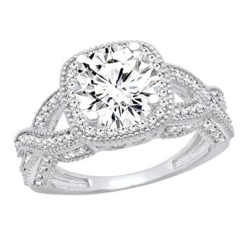 Trang sức Dazzling Rock Dazzlingrock Collection 1.00 Carat (ctw) 14K Round Kim cương trắng Nữ Halo Nhẫn đính hôn 1 CT