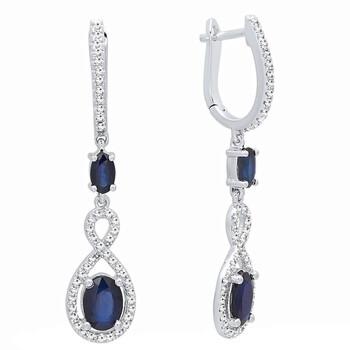 trang sức Dazzling Rock Dazzlingrock Collection 14K Each Oval Cut Blue Sapphire & Round Kim cương Nữ Infinity Drop Bông tai (khuyên tai, hoa tai), Vàng trắng chính hãng sale giá rẻ tại Hà nội TPHCM
