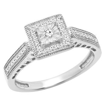 Trang sức Dazzling Rock Dazzlingrock Collection 0.20 Carat (ctw) 10K Round Kim cương Nữ Vintage Nhẫn đính hôn 1/5 CT