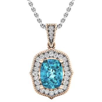 trang sức Dazzling Rock Dazzlingrock Collection 10K Each 8X6 MM Cushion Blue Topaz & Round Kim cương trắng Nữ Flower Pendant, Vàng hồng chính hãng sale giá rẻ tại Hà nội TPHCM