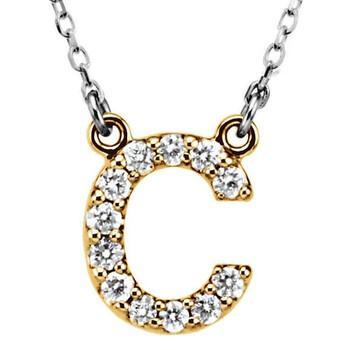 Trang sức Dazzling Rock Dazzlingrock Collection 0.12 Carat (ctw) 14K Kim cương Uppercase Letter C Initial Pendant (Silver Chain Included)