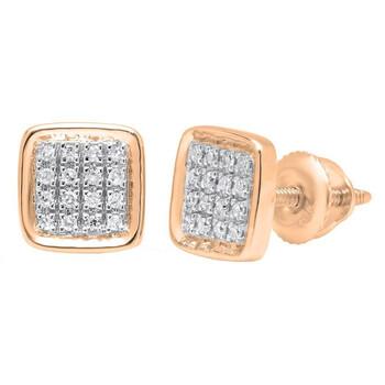 Trang sức Dazzling Rock Dazzlingrock Collection 0.09 Carat (ctw) 14K Round Kim cương trắng Micro Pave Square Shape Stud Bông tai (khuyên tai
