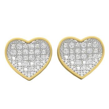 Trang sức Dazzling Rock 0.23 Carat (ctw) Bạc 925 mạ Vàng 18K Round Kim cương Nữ Stud Bông tai (khuyên tai