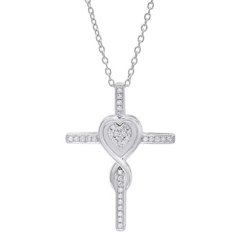 Trang sức Dazzling Rock Dazzlingrock Collection 0.20 Carat (ctw) 10K Round Kim cương Cross & Heart Pendant 1/5 CT (Silver Chain Included)
